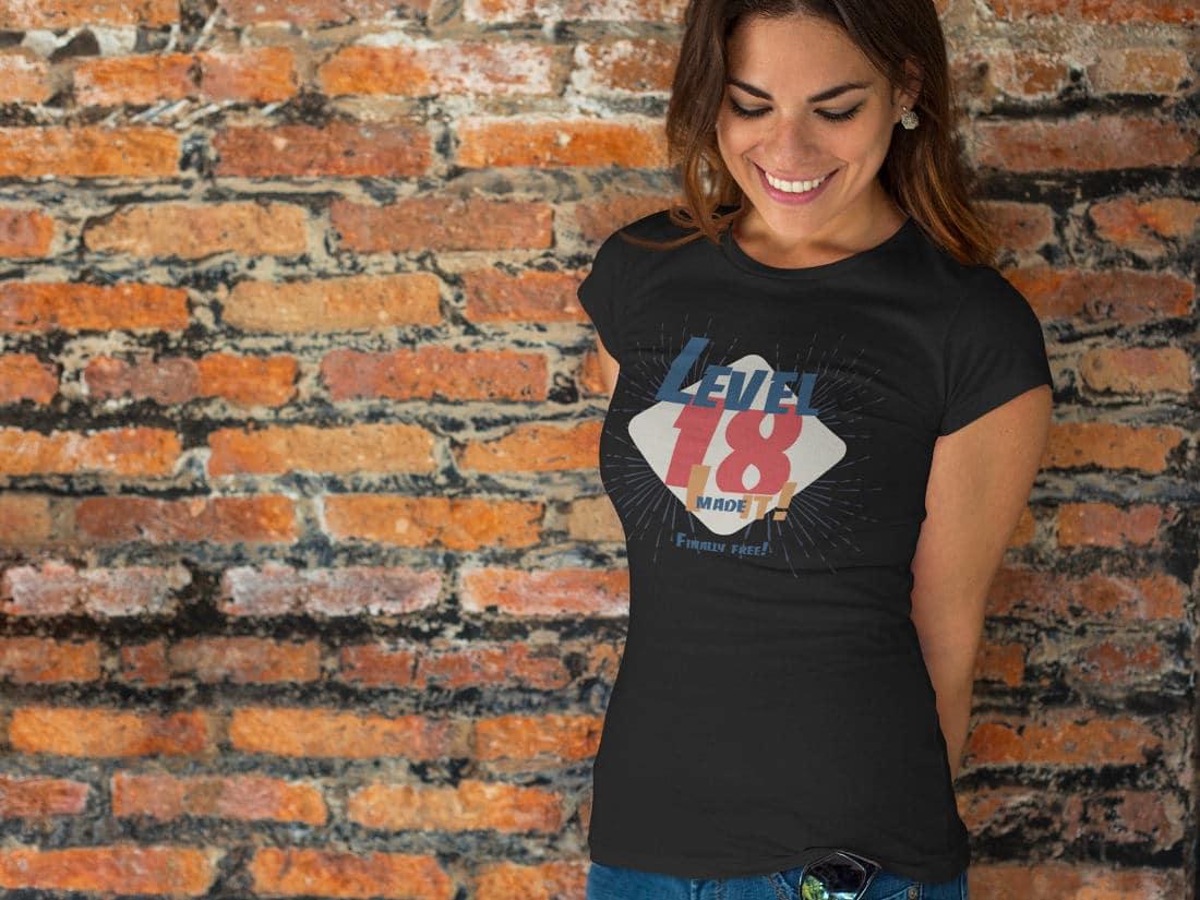 """""""Level 18"""" T-Shirts zum 18. Geburtstag"""