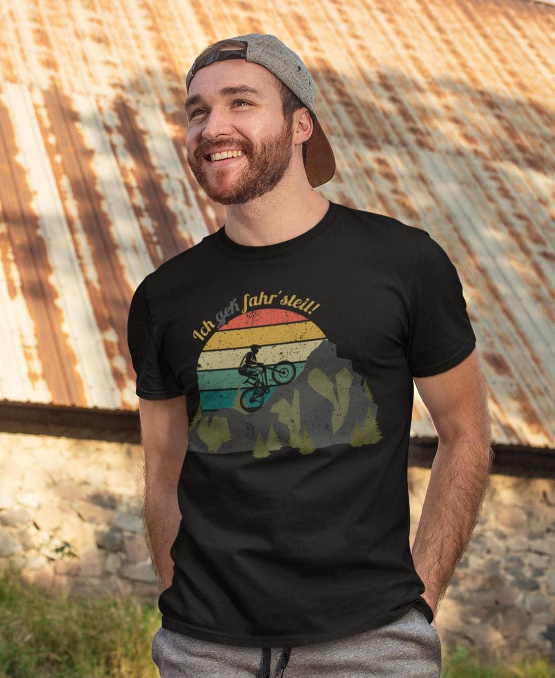 Fahrrad-T-Shirts-Ich-fahr-steil-Mountainbike