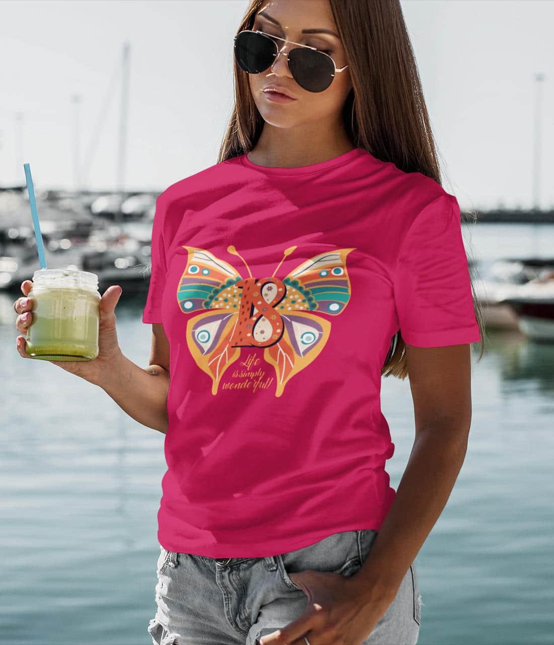 T-Shirt-18-Geburtstag-Schmetterling