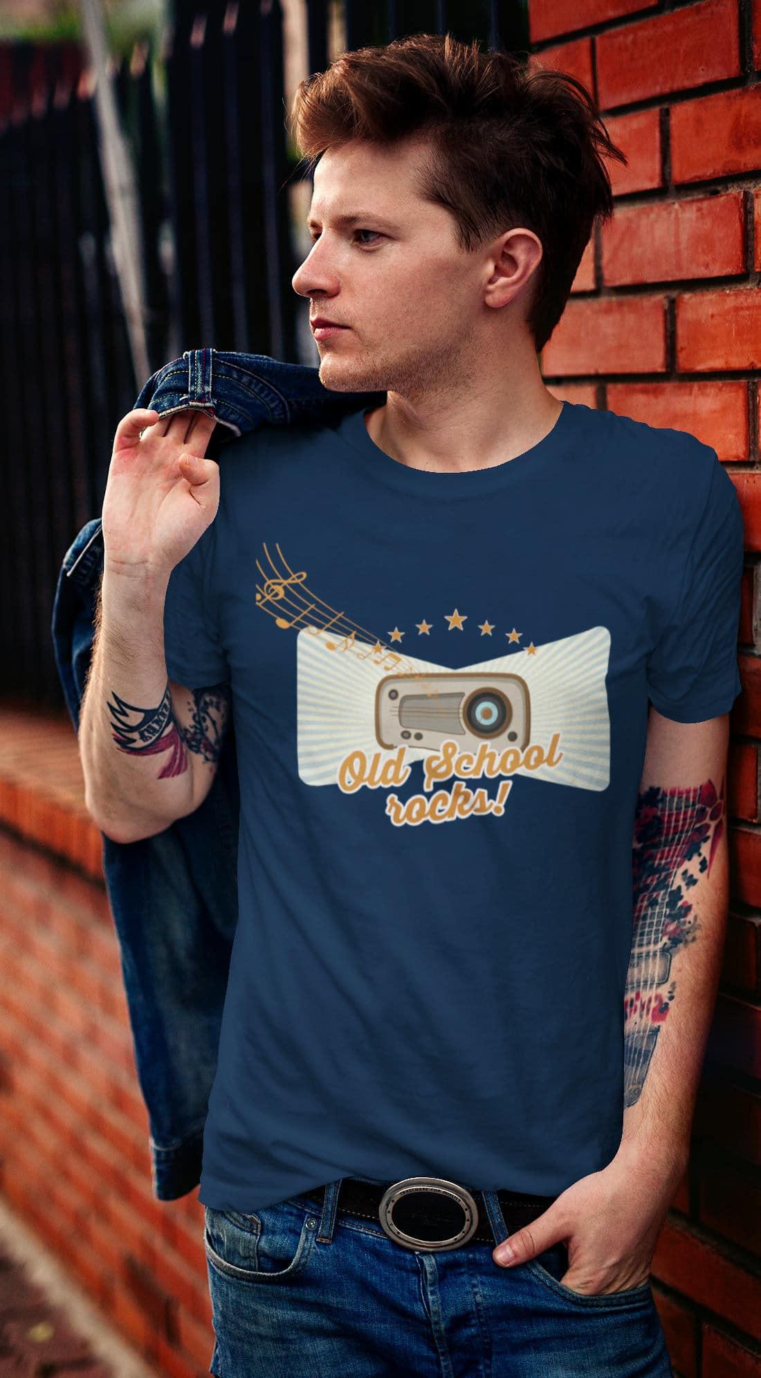 Retro-Vintage-T-Shirt-Old-School-Radio-Music