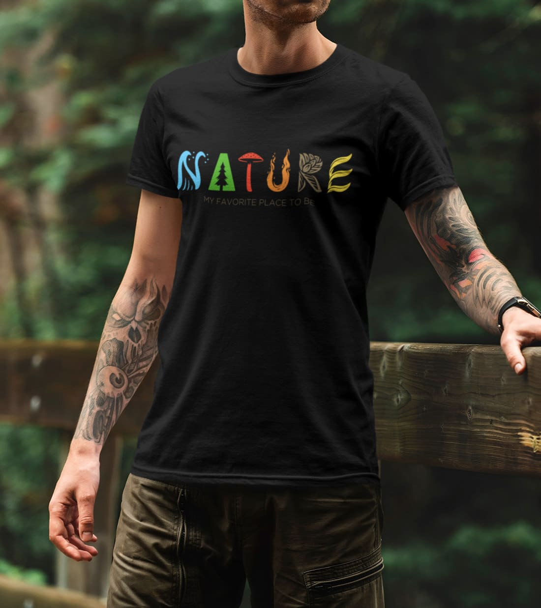 Wandern-T-Shirt-Nature-in-Typo-my-favorite-place-to-be