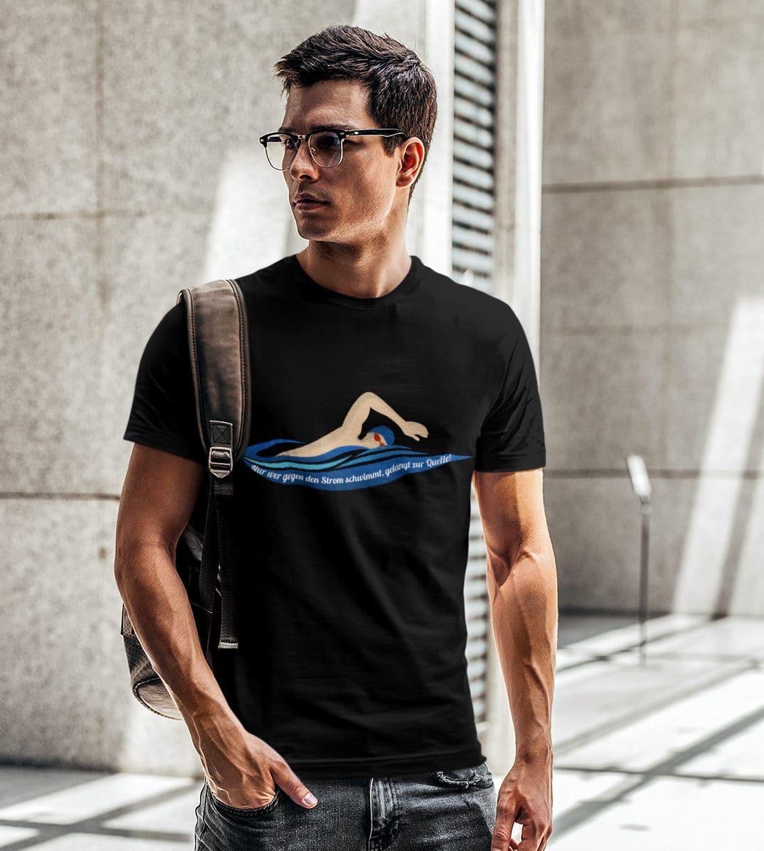 T-Shirts-Herren-Gegen-den-Strom-schwimmen