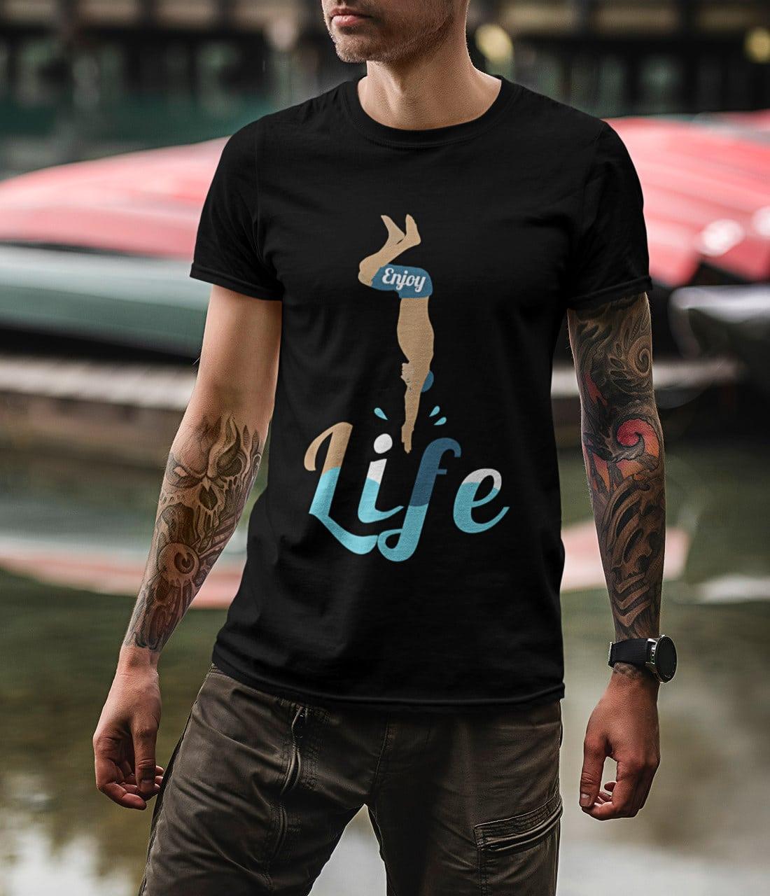 Ausgefallene-T-Shirts-Herren-Kopfsprung-Enjoy-Life