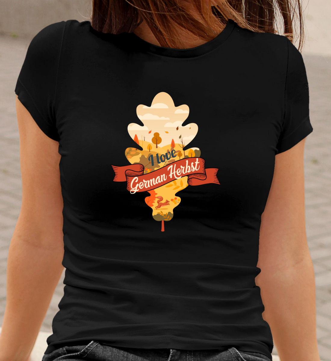 Wandern T-Shirt German Herbst Eichenblatt