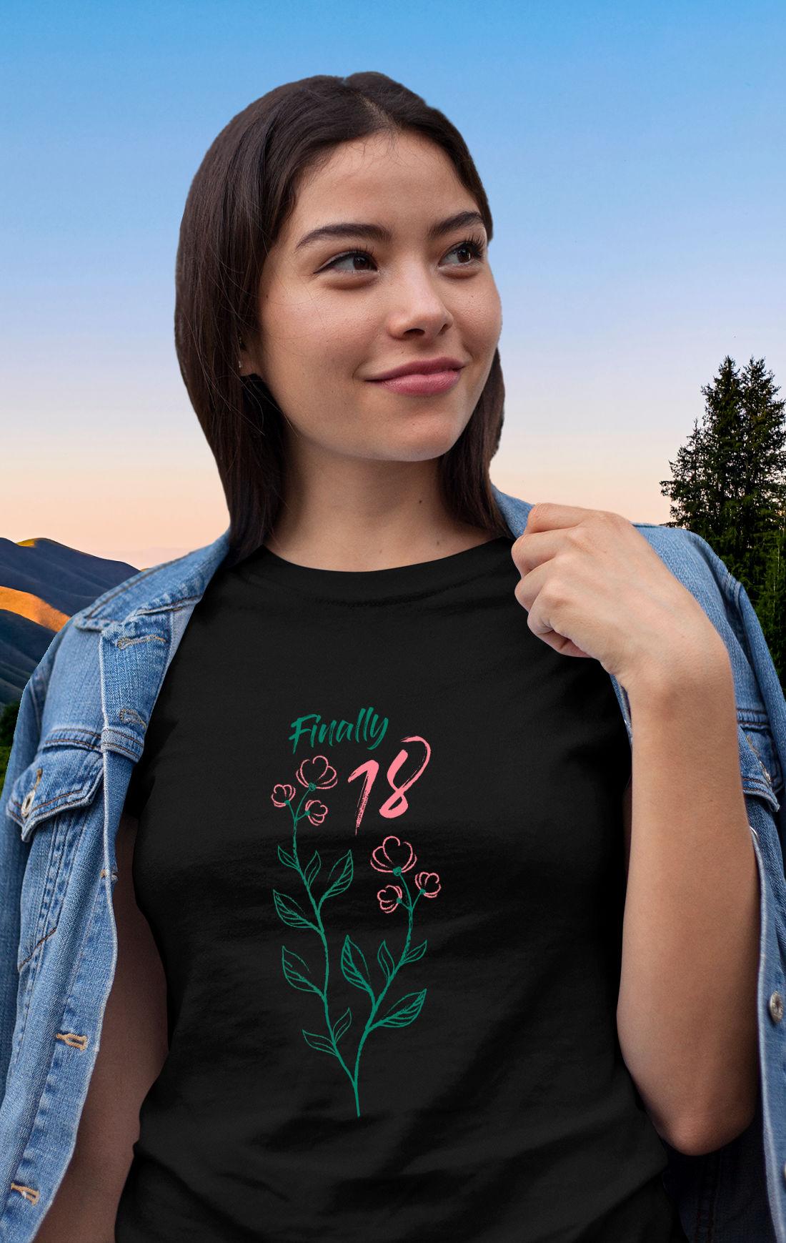 Geburtstags-T-Shirt zum 18. Geburtstag - Florales Design