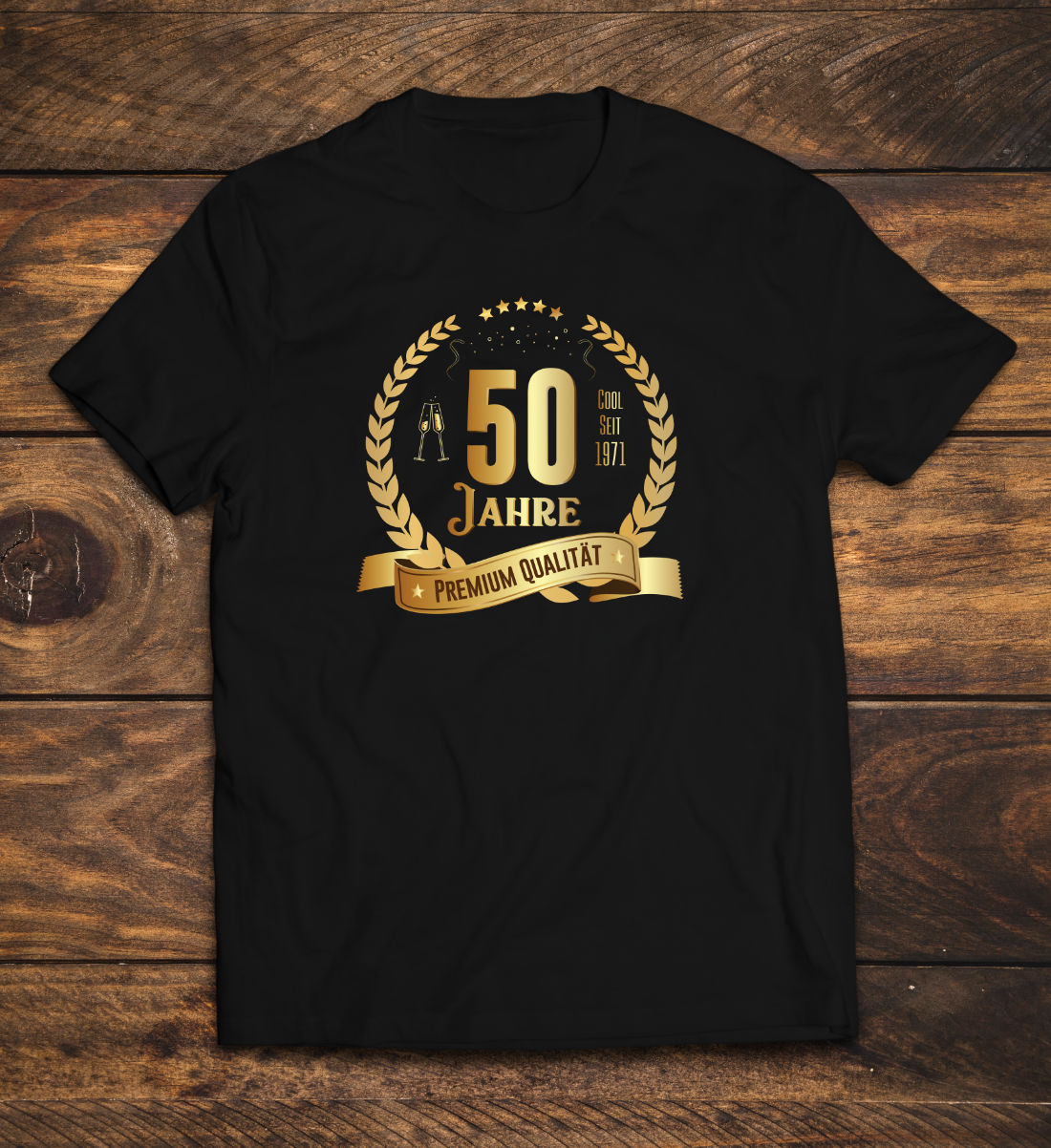 T-Shirt zum 50. Geburtstag mit Lorbeerkranz 1971