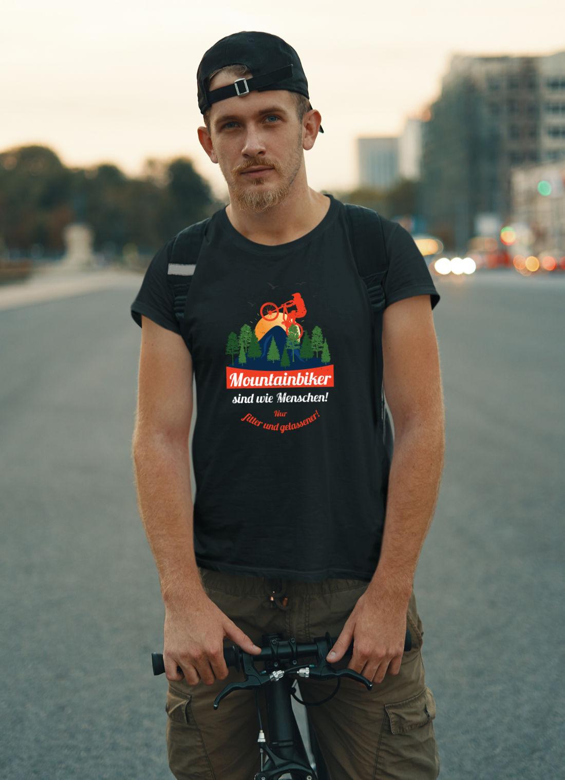 Fahrrad-T-Shirt-Mountainbiker sind wie Menschen